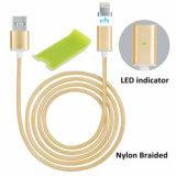 Cabo cobrando magnético trançado de nylon do USB para o iPhone e o Android