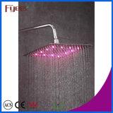 Fyeer LED Slim lluvia de ducha de cabeza del grifo del baño de color cambiado por la temperatura del agua