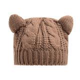 Шлемы осени зимы Beanie крышки Meow кабеля уха кота девушки женщин милый связанные закруткой (HW103)