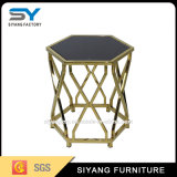 가정 가구 유리제 테이블 금 소파 측 테이블