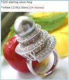 優雅なポーランドの仕上げの実質の925個の真珠の純銀製リング(R5798)