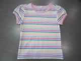 Cuello redondo de la banda 100% algodón camisetas de manga corta para niños