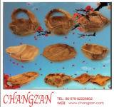 La sculpture de bois de teck ancien de l'artisanat Pots placé de grands morceaux de fruits bol plat Le panier de fruits