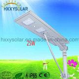Indicatore luminoso di via solare Integrated di potere 25W LED di stile famoso tutto in una garanzia di qualità