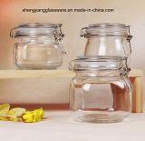 o frasco de vidro do armazenamento do mel 3PC ajustou-se com a tampa de vidro hermética