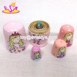 Personalizar el anidamiento de las chicas rusas de madera rosa muñeca para Wholesale W06D095
