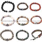Perles de pierres naturelles Lapis Jasper plaine de la pyrite rondes Bracelet Perles de la mode