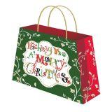 Zoll gedruckter Geschenk-verpackenweihnachtspapierbeutel mit Griff