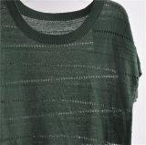 As senhoras de linho do algodão Short a camisola do Knit da luva