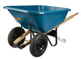 Wheelbarrow poli do pé 6 cúbico com rodas duplas