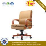 Cadeira de escritório de couro executivo giratória de pé de madeira maciça (NS-064B)