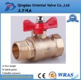 Freie Probe, Quergriff-Messingkugelventil 1 Zoll mit in auf lagerfabrik in der China-Qualität