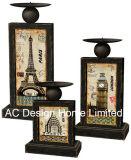 MDF classico dell'oggetto d'antiquariato dell'annata di disegno S/3 di legno/supporto di candela rettangolare sottile decalcomania di carta del metallo