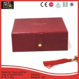 Faux rojo Leather Material Mano-hizo Snap Gift Box (1007R4)