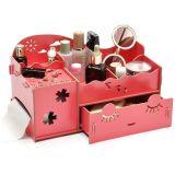 Caixa de armazenamento Desktop de madeira de DIY, caixa cosmética, caixa de jóia