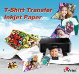 2017 venta al por mayor caliente obscuridad oscura/blanca de A4 del algodón de la camiseta de la impresión de traspaso térmico del papel