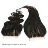 Encierro tres/libres/parte media del cordón del pelo 3.5X4 de la dicha de la tapa del cordón del encierro de la onda suiza de la carrocería de la Virgen del pelo humano de los pedazos peruanos de los encierros