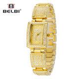 Belbi Frauen-Edelstahl-Quadrat-römische Zifferen-Golduhr-Quarz-Uhr-wasserdichte Uhr