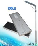 APP는 50W에 의하여 통합된 태양 LED 가로등/태양 정원 빛을 통제한다