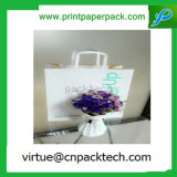 L'impression personnalisée blanche a tordu le sac à provisions de papier enduit avec le traitement de papier