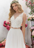 Мантий вечера шнурка платье венчания Ml6856 пляжа Bridal шифоновое