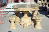 大理石のTable&Benchの庭表