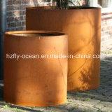 Fo-9c03 Plantadeira de aço corten exterior do cilindro para o comércio por grosso