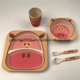 Gli articoli per la tavola di bambù ecologici della fibra scherzano 5 parti dell'insieme di pranzo con la tazza della ciotola del piatto