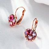 Boucles d'oreille en alliage de zinc de boucles d'oreille de femmes plaquées par or de Rose de boucles d'oreille de femmes de foret de Crech plaquées par or de mode