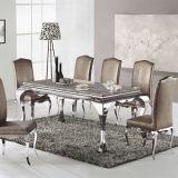 Jogo de mármore da tabela de jantar do aço inoxidável dos frames da tabela