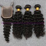 閉鎖浜が付いているペルーのバージンの毛は束束と編む深い巻き毛水波の人間の毛髪を搭載する4X4レースの閉鎖を振る