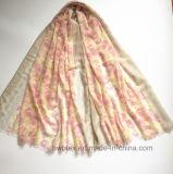 Kundenspezifischer rosafarbener Flourish gedruckter Stola-/Polyester-Schal (H7243)