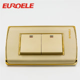 Original Quality PC Plate Gold Color 3 Gang Wall Switch