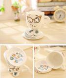Il cuore creativo dentellare blu bianco ha modellato il regalo stabilito 120ml di caffè della tazza della tazza di ceramica del latte