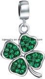 Branello d'argento del trifoglio di verde dei monili
