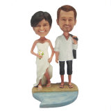 Personalizado Marido e esposa Bobblehead Couple Wedding Cake Topper