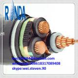 câble électrique isolé par XLPE de cuivre souterrain de faisceau de 8.7KV 10KV