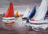 Pintura al óleo de acrílico del barco de la reproducción del Impresionismo