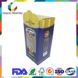 Коробка вина картона верхнего сегмента с штемпелевать золота горячий с ясным окном