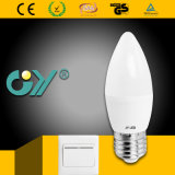 Interruptor regulable C37 LED vela luz 7W E27 3000k