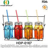 Einzelne Großhandelswand-Plastikbecher, BPA geben Plastikmaurer-Glas mit Kappe und Stroh frei (HDP-0167)