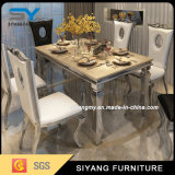 Mobília chinesa de aço inoxidável mesa de jantar em mármore preto