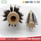 Spazzola di capelli professionale di rotolamento della setola del verro della maniglia rotonda di legno (JMHF-91)