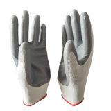 Jauge 13 tricotés sans couture en polyester gris Palm enrobés de nitrile Gants de travail