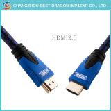 Нейлоновые экранирующая оплетка сплава 2.0 4K 3D 18Гбит/с кабелем HDMI с золотым покрытием
