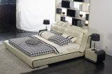 Кровать мебели Shunde самомоднейшая твиновская обитая кожаный мягкая с рамкой