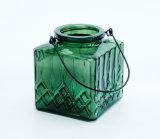 De goedkope Houder van de Kaars van de Lantaarn van het Onweer van het Glas van de Vorm van de Prijs Vierkante Groene