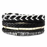 4PCS 1sets mehrschichtiges umsponnenes Wristband-Armband für Männer