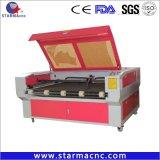 Blue 100W Reci automática Máquina de corte Láser de Piel, Tejido de mejor precio de la máquina cortadora láser