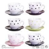 3oz taza de cerámica y platillo